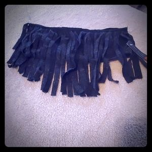 Ocean Drive  clothing co Dark gray crop top fringe